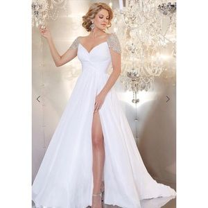 Panoply Crystal Cap Sleeve Twisted Bodice Gown